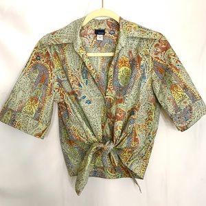 Retro Sage Green Collard Tie Front Button Crop Top